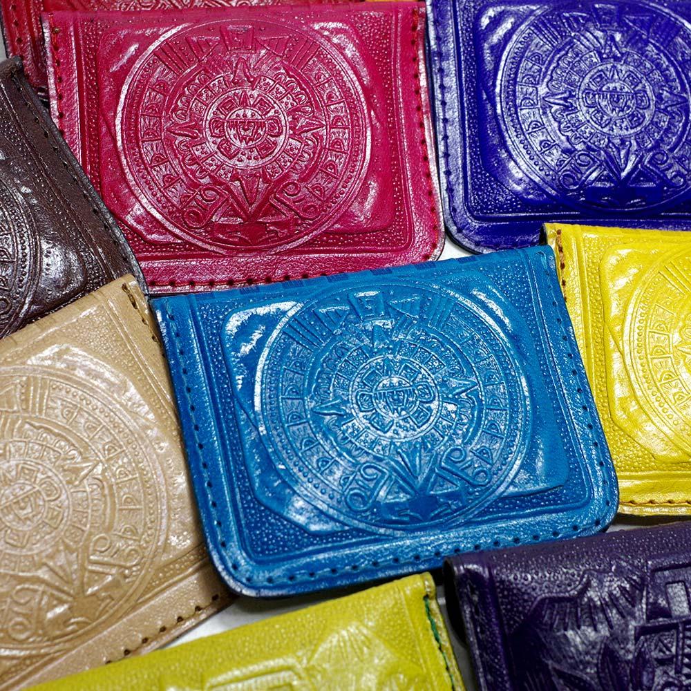 メキシコ PAD エスニック 小銭入れ レザー 革 財布 コイン入れ コインケース コインパース アステカ 太陽の石 アステカカレンダー