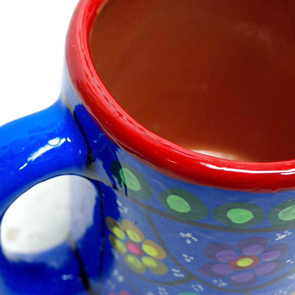 メキシコ雑貨 マグカップ  MUG MUG CUP CUP  メキシコ プレゼント ギフト 手作り 花柄 素焼き マグ キッチン雑貨 コーヒー カップ