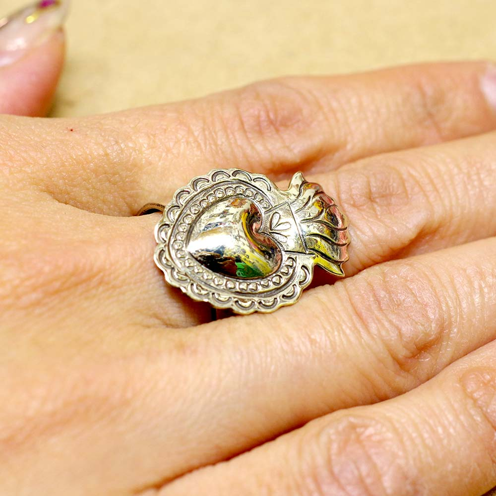 アクセサリー メキシカンジュエリー リング コラソン ハート ハンドメイド 手作り プレゼント 可愛い カワイイ 指輪