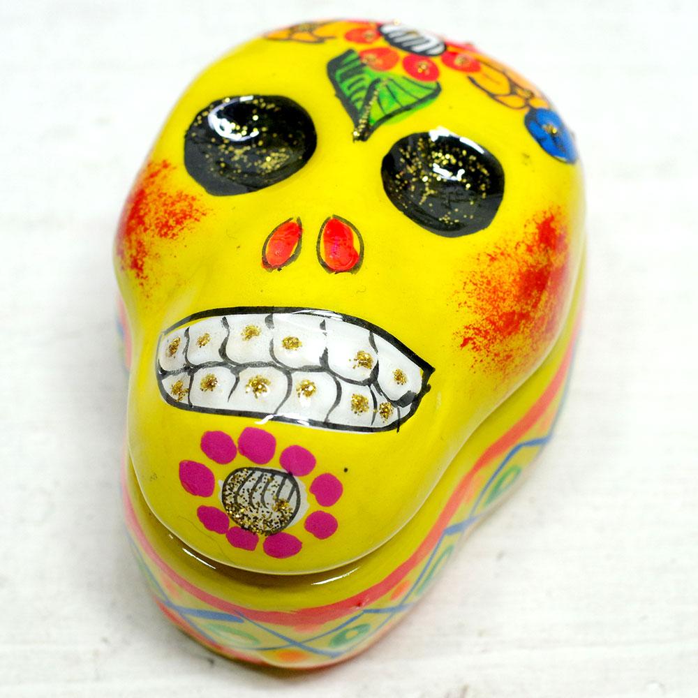 メキシコ メキシコ雑貨 メキシコ雑貨PAD メキシカンスカル スカル メキシコ ガイコツ カラベラ ドクロ 小物入れ ジュエリーケース 入れ物 ハコ 置物 インテリア インテリア雑貨 スカル雑貨 スカルのインテリア 死者の日 死者の国 シュガースカル リメンバーミー
