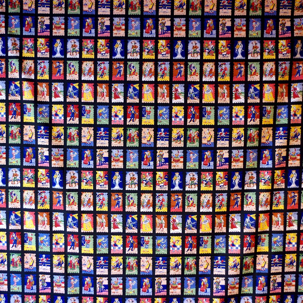 メキシコ メキシコ雑貨 メキシコ雑貨PAD メキシカンスカル スカル メキシコ ガイコツ カラベラ ドクロ  柄 生地 ファブリック キルト 布 ハギレ 手作り 素材 マテリアル ハンドメイド レジャーシート デコレーション パーティ飾り パーティグッズ 飾り インテリア インテリア雑貨 スカル雑貨 スカルのインテリア 死者の日 死者の国 シュガースカル リメンバーミー