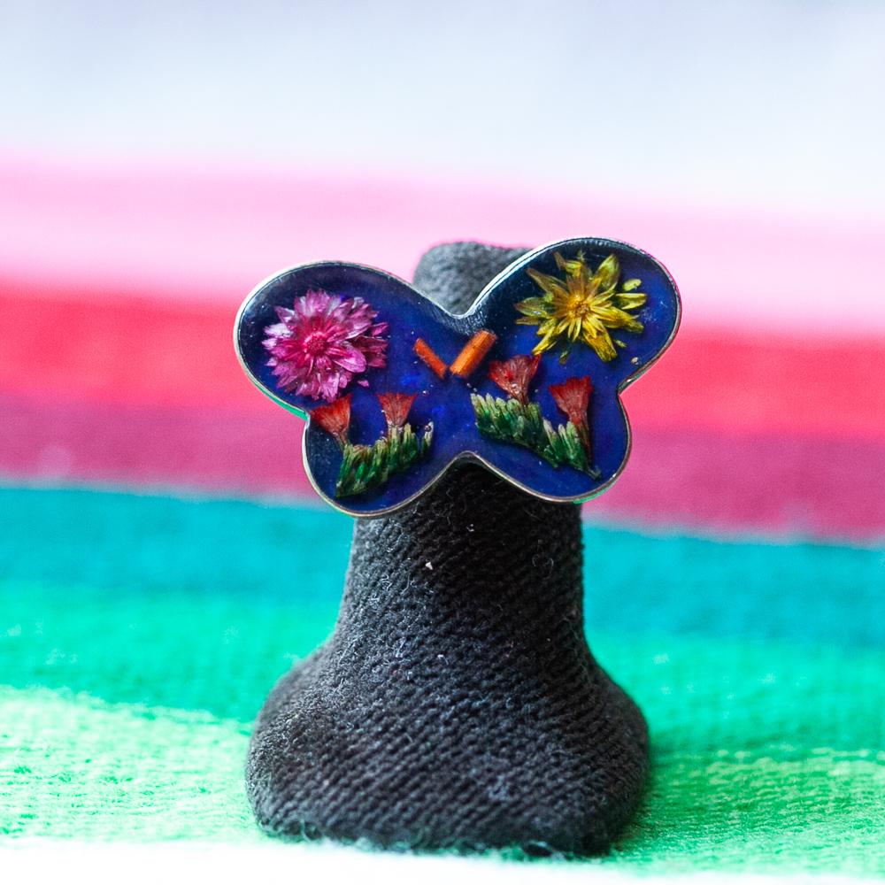 メキシコ アクセサリー リング ピアス イヤリング 生花 押し花 フラワー エスニック お花入り お花 レトロ 手作り ハンドメイド
