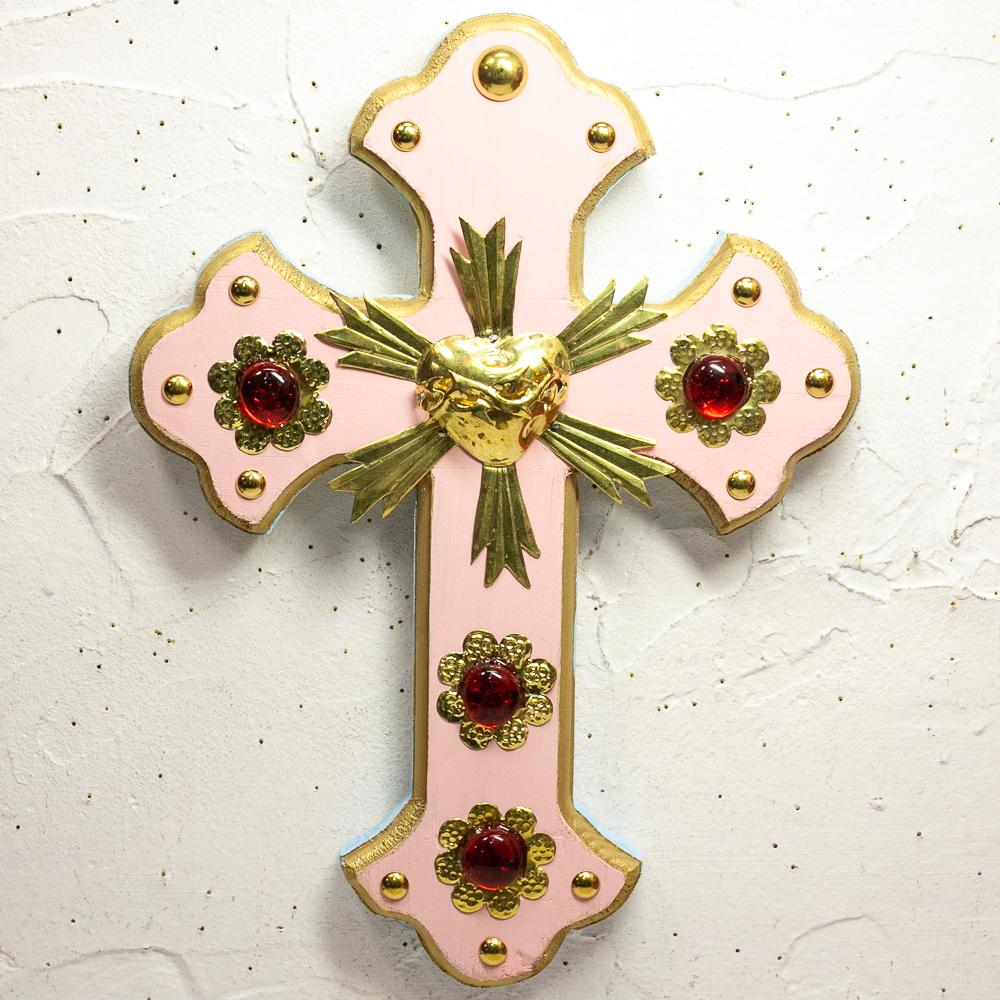 """""""クロス,十字架,壁掛け,パステル,パステルカラー,キラキラ,ふわかわ,飾り,メキシコ"""