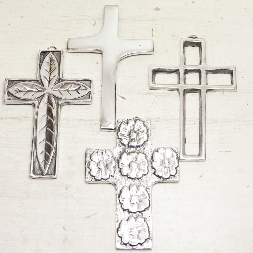 """""""ピュータークロス,ピューター,メキシカンピューター,アルミ,クロス,十字架,壁掛け,飾り,オーナメント,メキシコ"""
