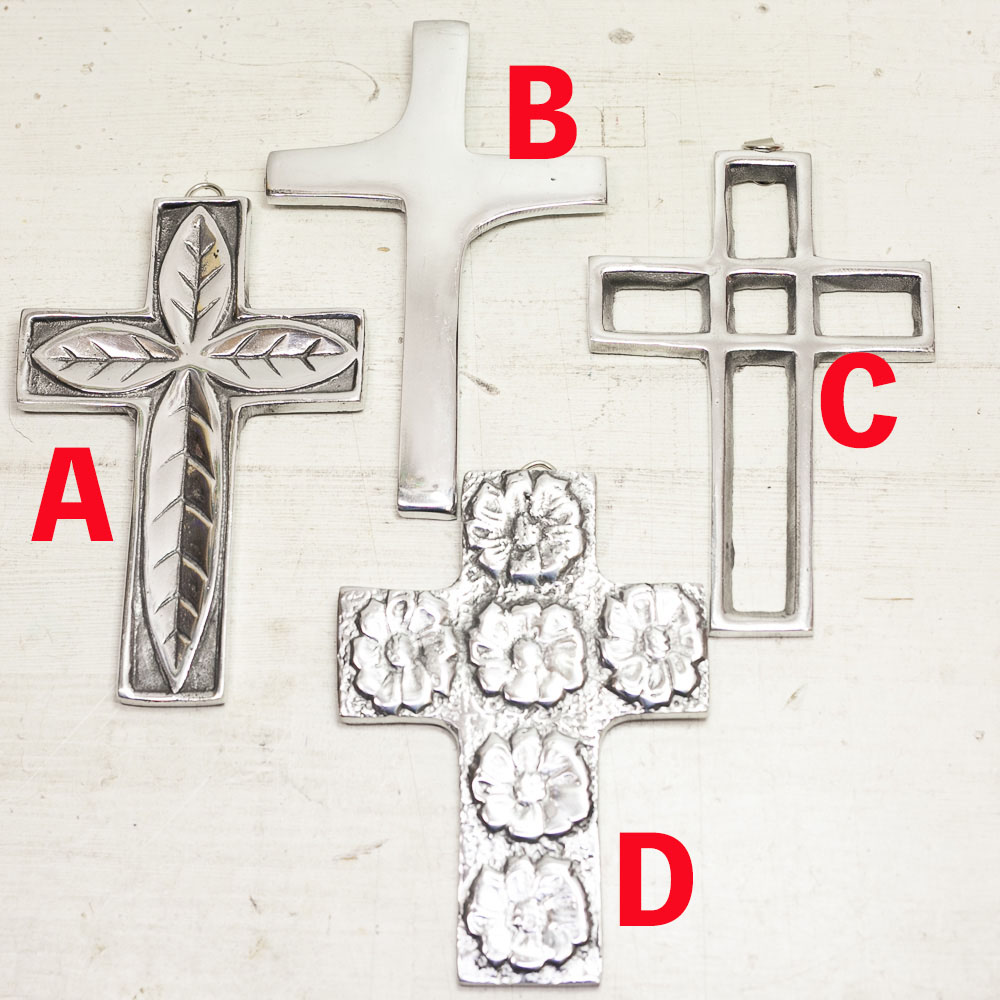 """""""ピューター,メキシカンピューター,アルミ,クロス,十字架,壁掛け,飾り,オーナメント,メキシコ"""