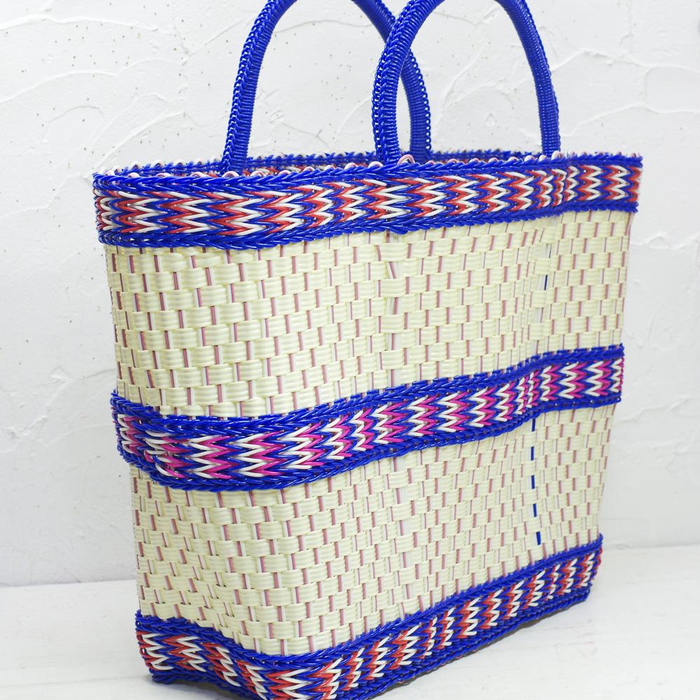 メキシコ雑貨,PAD,かごバック,PADメキシコ,PAD,メルカドバッグ,買い物バック,ボルサプラスティコ,カラフルバック,送料無料,メキシコ南部,手作りバッグ
