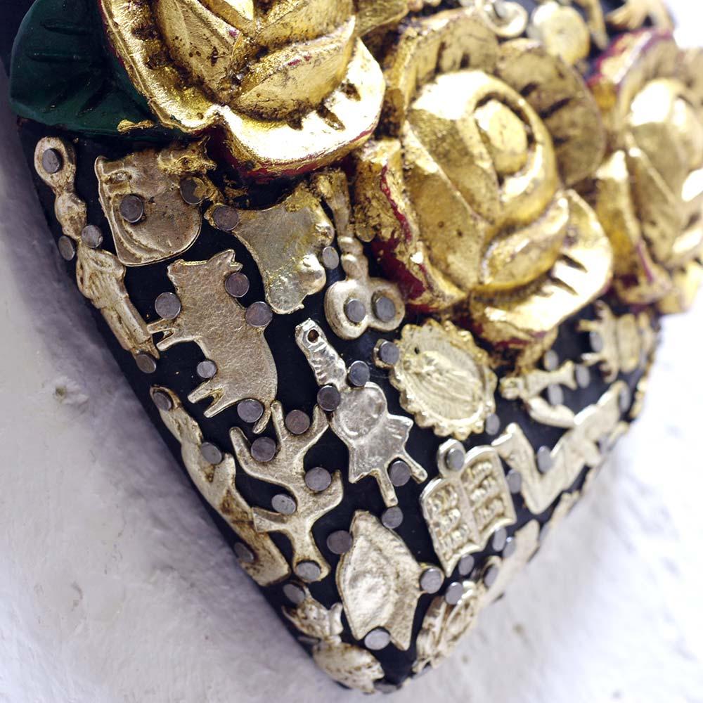 """""""コラソン,バラ,薔薇,薔薇ハート,ハート,ミラグロ付きコラソン,メキシコ雑貨,メキシコ,コラソンの壁飾り,ミラグロ,お守り,壁飾り,壁掛け,メキシコ雑貨PAD,PADメキシコ,PAD堀江,PAD下北沢,プレゼント,贈り物,ギフト,インテリア雑貨,インテリア"""""""