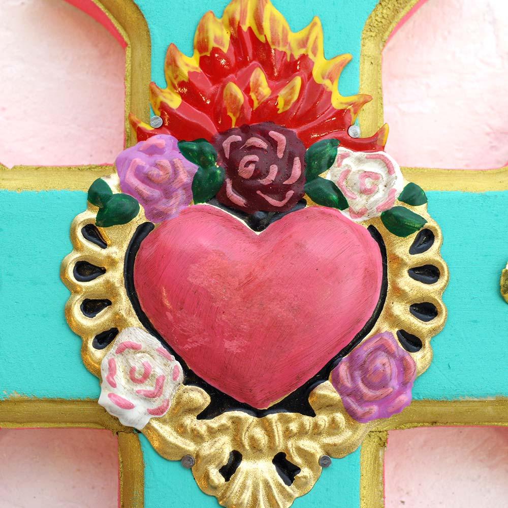 """""""クロス,十字架,diabla,オリジナル,PADオリジナル,ガラス玉,壁掛け,壁飾り,インテリア,メキシコ雑貨,メキシコ雑貨PAD"""