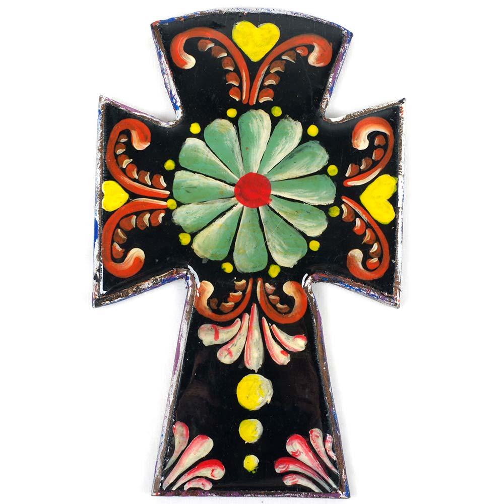 """""""十字架,クロス,手描き,ハンドメイド,アート,,壁掛け,壁飾り,インテリア,メキシコ雑貨,メキシコ雑貨PAD"""""""
