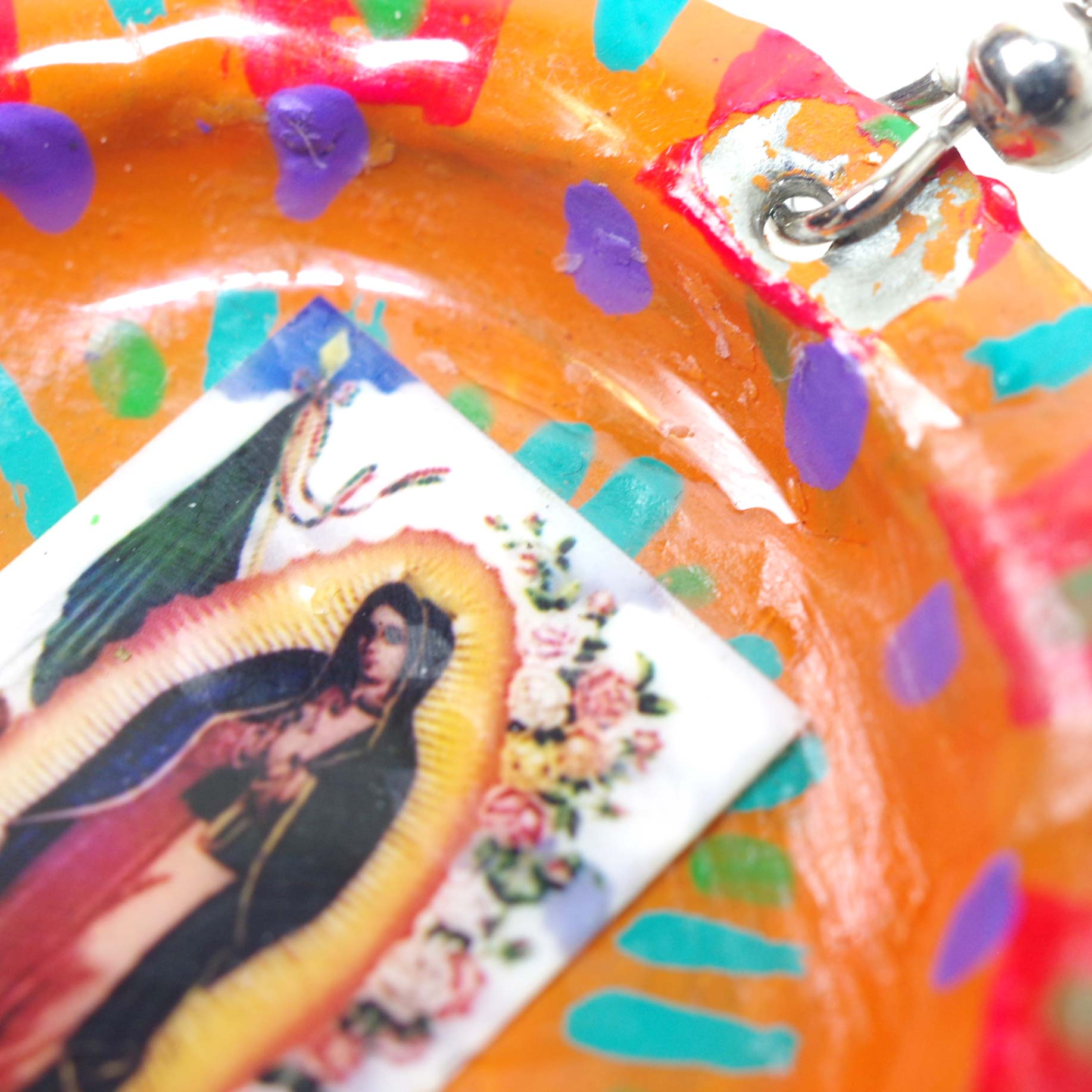 """""""王冠ピアス,王冠,マリア,マリア様,グアダルーペ,リサイクル,手描き,イヤリング,ピアス,メキシコ雑貨,メキシコ雑貨PAD"""""""