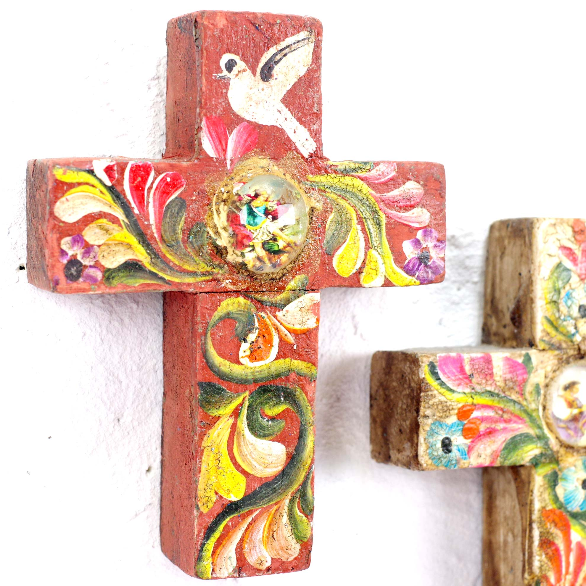 """""""手描きミラグロクロス,ミラグロ,クロス,十字架,壁掛け,壁飾り,インテリア,ミラグロクロス,民芸品,メキシコ雑貨,メキシコ雑貨PAD"""""""