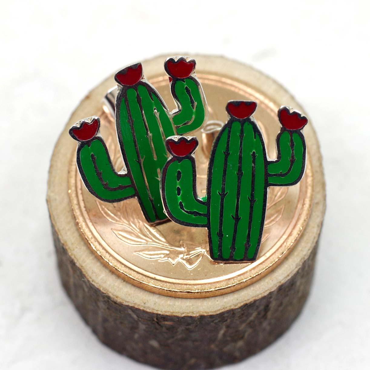 """""""サボテンピアス,サボテン,カクタス,植物,多肉植物,ピアス,シルバー925,シルバー,メキシコ雑貨,メキシコ雑貨PAD"""""""
