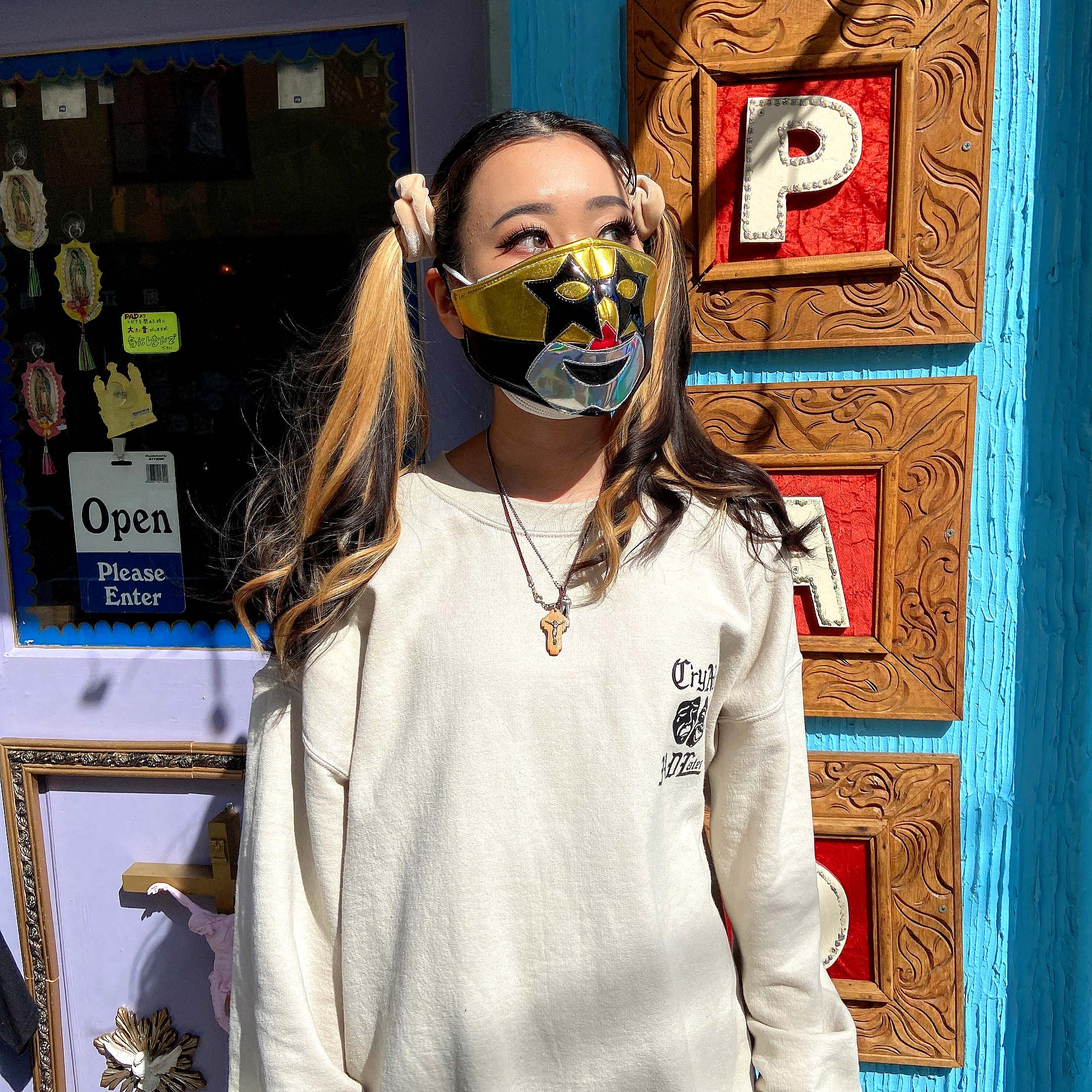 """""""ルチャリブレ,ルチャ,プロレス,マスクマン,覆面レスラー,覆面,おもしろ,ミルマスカラス,マスク,マスクカバー,衛生用マスク,布マクス,エコマスク,おしゃれ,洗える,ウォッシャブル,繰り返し使えるマスク,メキシコ雑貨,メキシコ雑貨PAD"""""""