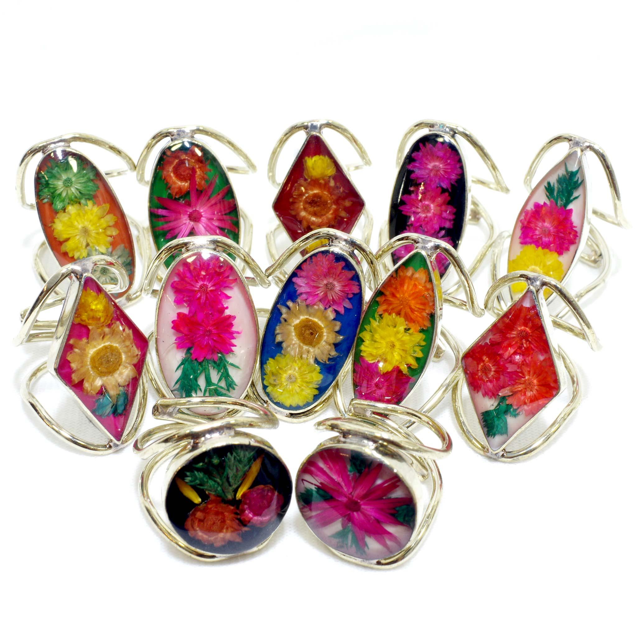 """""""生花,本物の花,花,フラワー,フラワーリング,リング,指輪,フリーサイズ,アクセサリー,メキシコ,メキシコ雑貨,メキシコ雑貨PAD"""""""