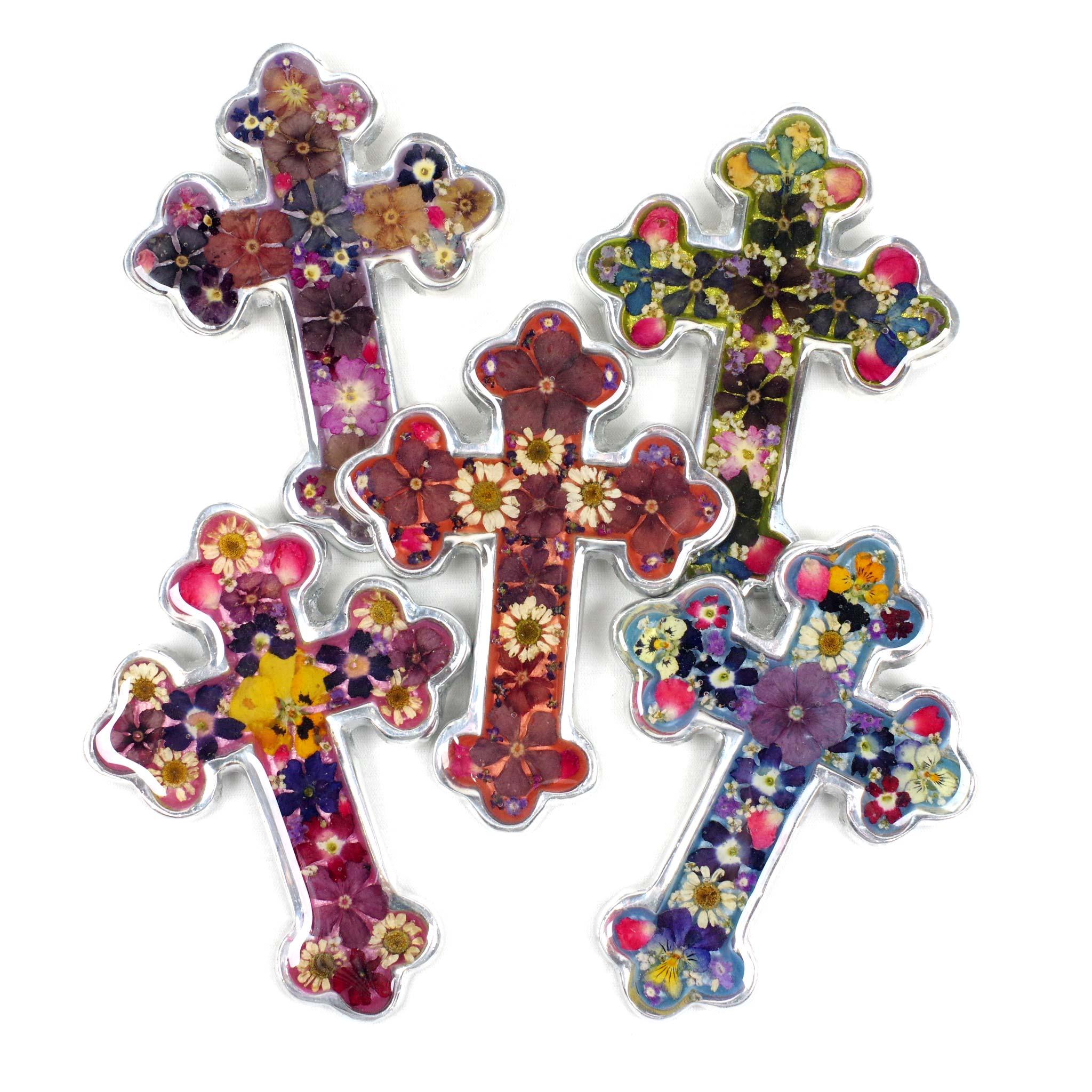 """""""クロス,十字架,壁掛け,壁飾り,生花,花,押し花,フラワー,ピューター,メキシカンピューター,インテリア,メキシコ,メキシコ雑貨,メキシコ雑貨PAD"""